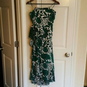 J.CREW  Ruffle High/Low Silk Dress in Navy Green